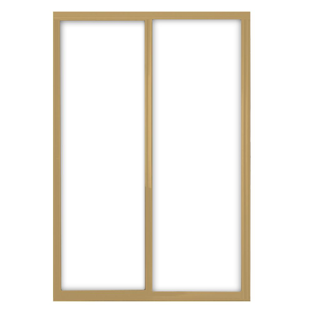 72 in. x 81 in. Silhouette 1-Lite Mystique Glass Satin Gold
