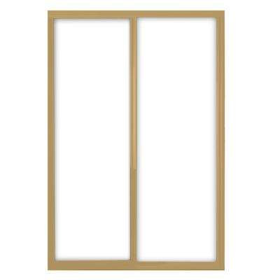 72 in. x 81 in. Silhouette 1-Lite Mystique Glass Satin Gold Frame Aluminum Sliding Door