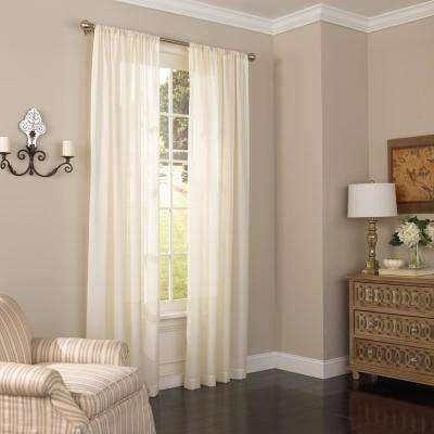 52 in. W x 84 in. L Chelsea UV Light Filtering Polyester Sheer Window Curtain Panel in Ivory