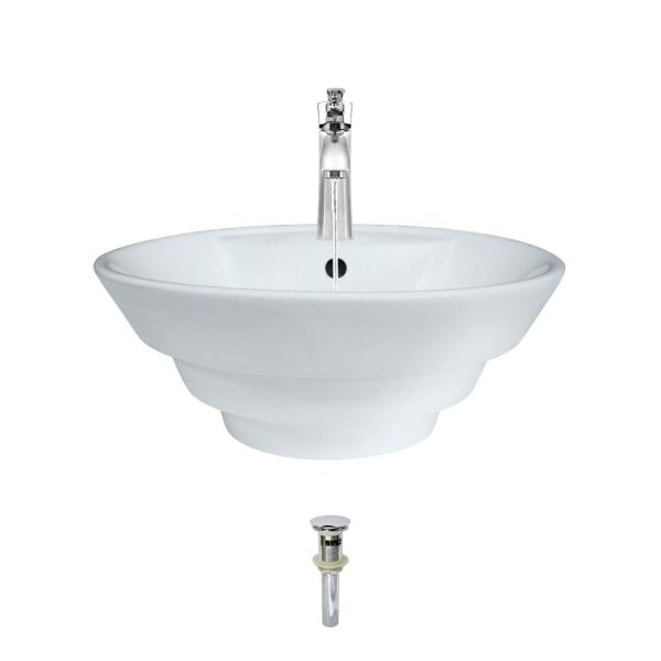 Mr Direct Porcelain Vessel Sink In White With 725 Faucet And Pop Up Drain In Chrome V2003 W 725 C The Home Depot