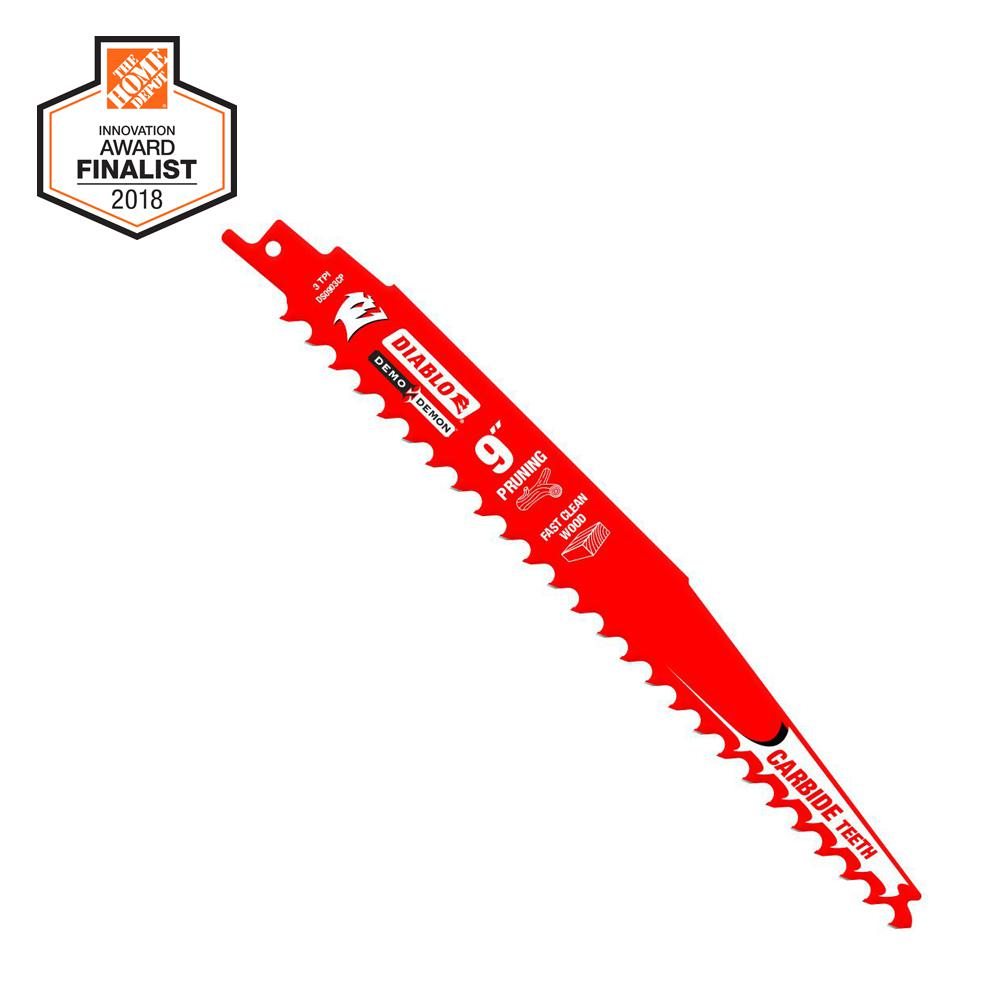 Diablo 9 in. Carbide Pruning and Clean Wood Cutting Reciprocating Saw Blade