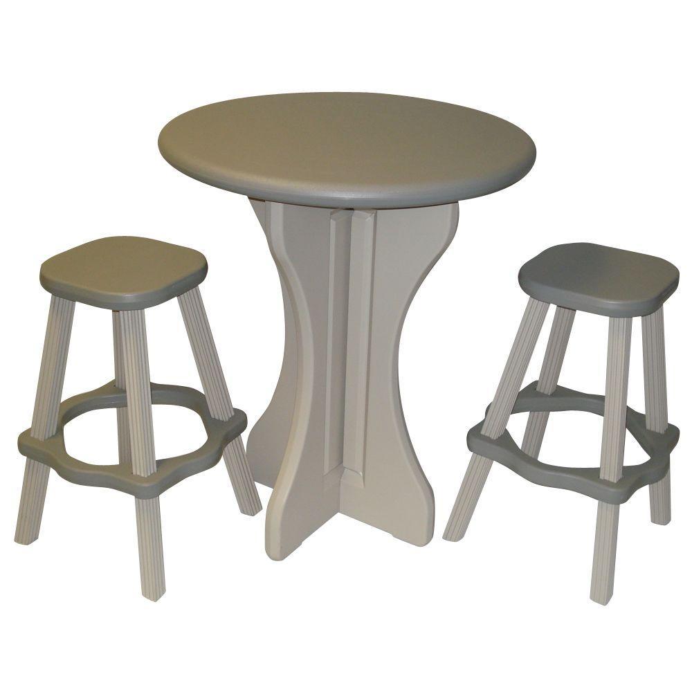 leisure accents gray 3 piece patio bistro set laps g the home depot. Black Bedroom Furniture Sets. Home Design Ideas