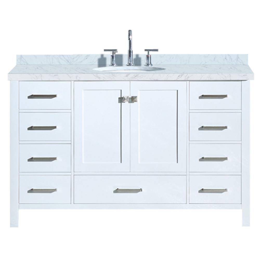 Ariel Cambridge 55 in. Bath Vanity in White with Marble Vanity Top in Carrara White with White Basin