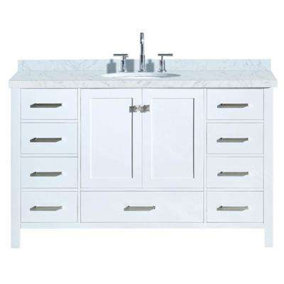 Cambridge 55 in. Bath Vanity in White with Marble Vanity Top in Carrara White with White Basin
