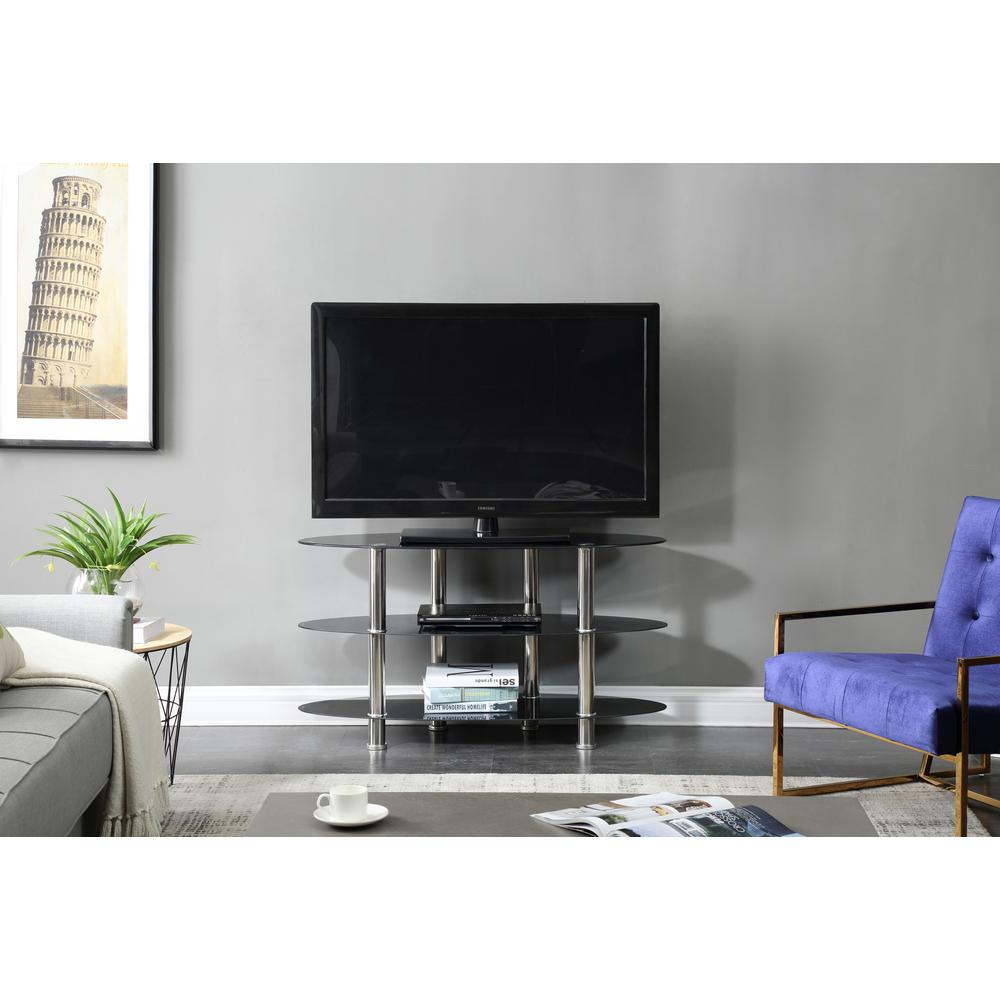 Hodedah 43 In Wide Glass Tv Stand With 3 Shelves Hitv2503 The