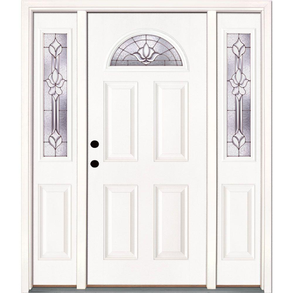 Feather River Doors 63.5 In. X 81.625 In. Medina Zinc Fan Lite Unfinished  Smooth