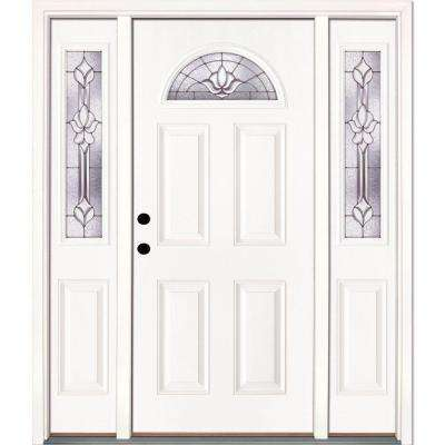 63.5 in. x 81.625 in. Medina Zinc Fan Lite Unfinished Smooth Right-Hand Fiberglass Prehung Front Door with Sidelites