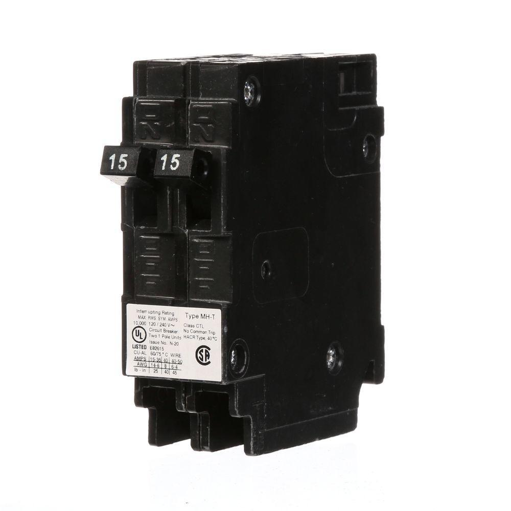 (2) 15 Amp Tandem Single Pole Type MH-T Circuit Breaker