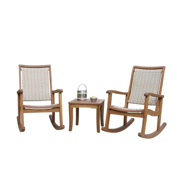 3-Piece Ash Grey Wicker and Eucalyptus Outdoor Rocking Chair Set with Square Accent Table
