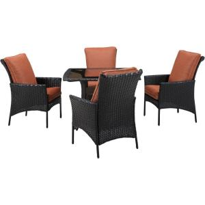 Hanover Strathmere Allure 5-Piece All-Weather Wicker Square Patio Dining Set with Woodland... by Hanover