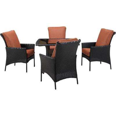 Strathmere Allure 5-Piece All-Weather Wicker Square Patio Dining Set with Woodland Rust Cushions