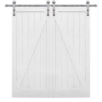 84 in. x 84 in. Primed Z-Plank MDF Barn Door with Sliding Door Hardware Kit