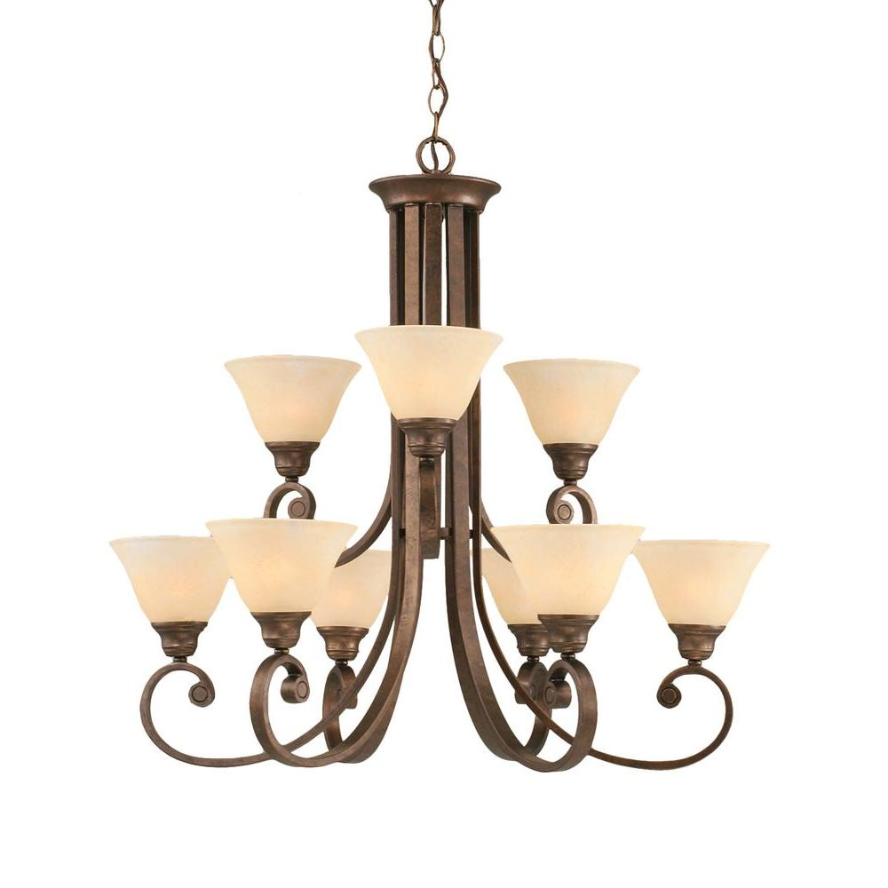Concord 9-Light Bronze Chandelier with Amber Marble Glass