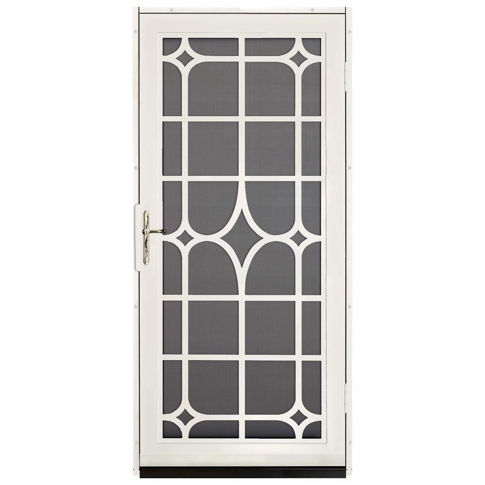 Unique Home Designs 36 in. x 80 in. Lexington Almond Surface Mount Steel Security Door with Insect Screen and Brass Hardware
