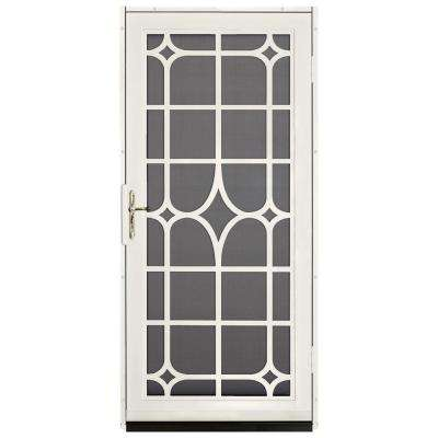 36 in. x 80 in. Lexington Almond Surface Mount Steel Security Door with Insect Screen and Brass Hardware