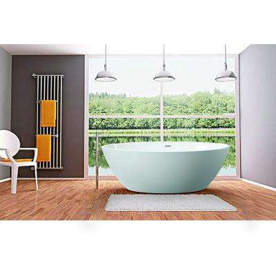 Calais 55 in. Acrylic Flatbottom Center Bathtub in White