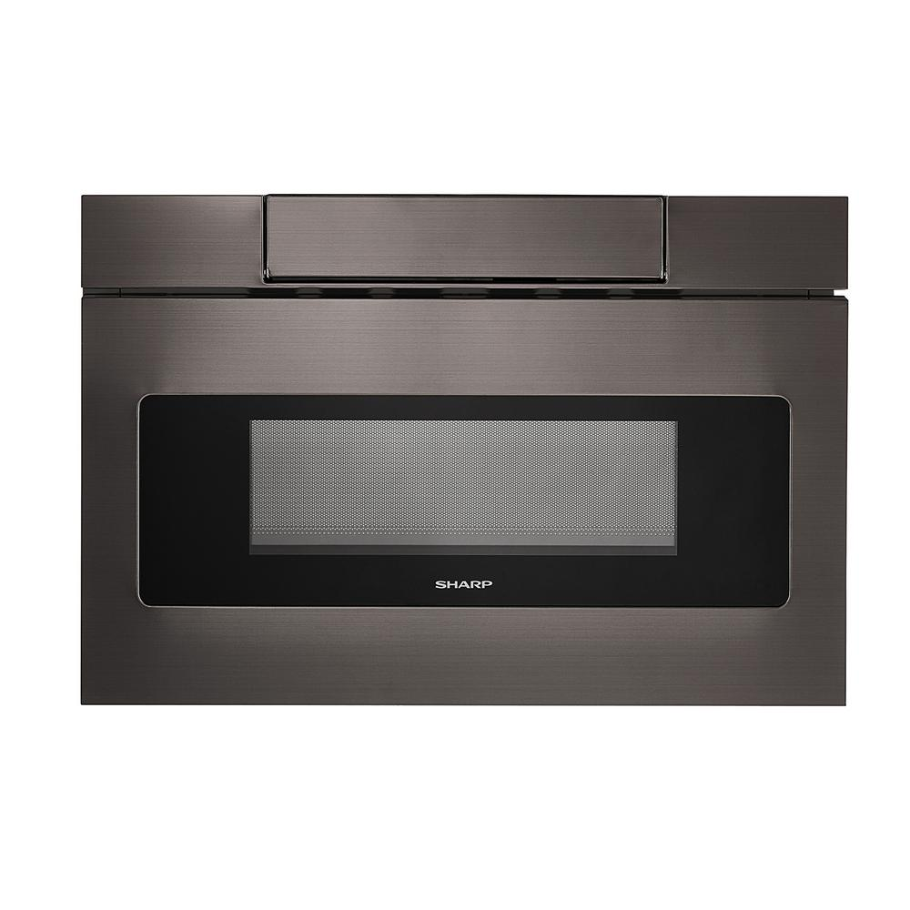 Sharp 24 in. 1.2 cu. ft. Built-In Microwave Drawer with Concealed Controls in Black Stainless Steel Finish with Sensor Cooking