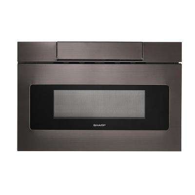 24 in. 1.2 cu. ft. Built-In Microwave Drawer with Concealed Controls in Black Stainless Steel Finish with Sensor Cooking