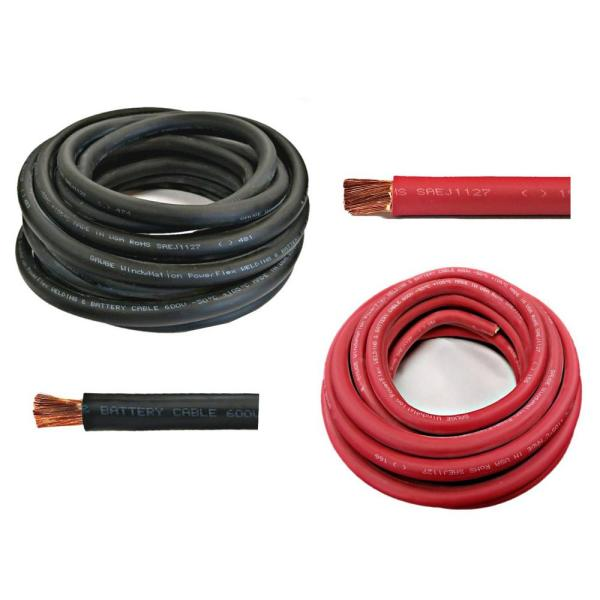 8-Gauge 25 ft. Black + 25 ft. Red (50 ft. Total) Welding Battery Pure Copper Flexible Cable Wire