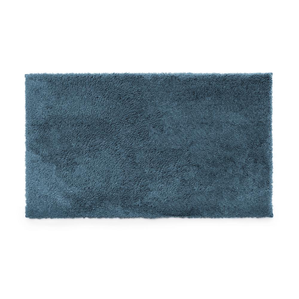 Blue 21 in. x 34 in. 100% Microfiber 2-Piece Bath Rug Set