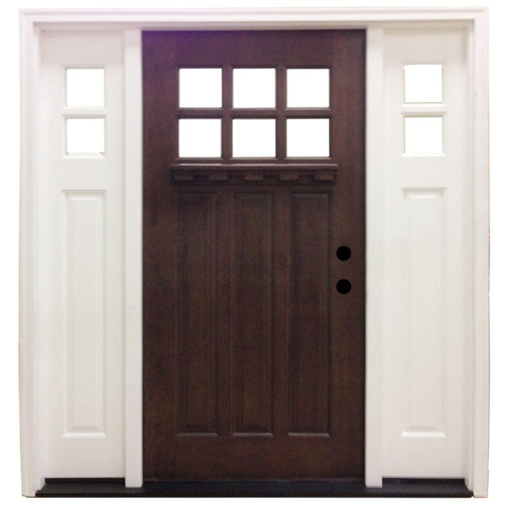Steves & Sons 64 in. x 80 in. Craftsman 6 Lite Stained Mahogany Wood Prehung Front Door with Sidelites
