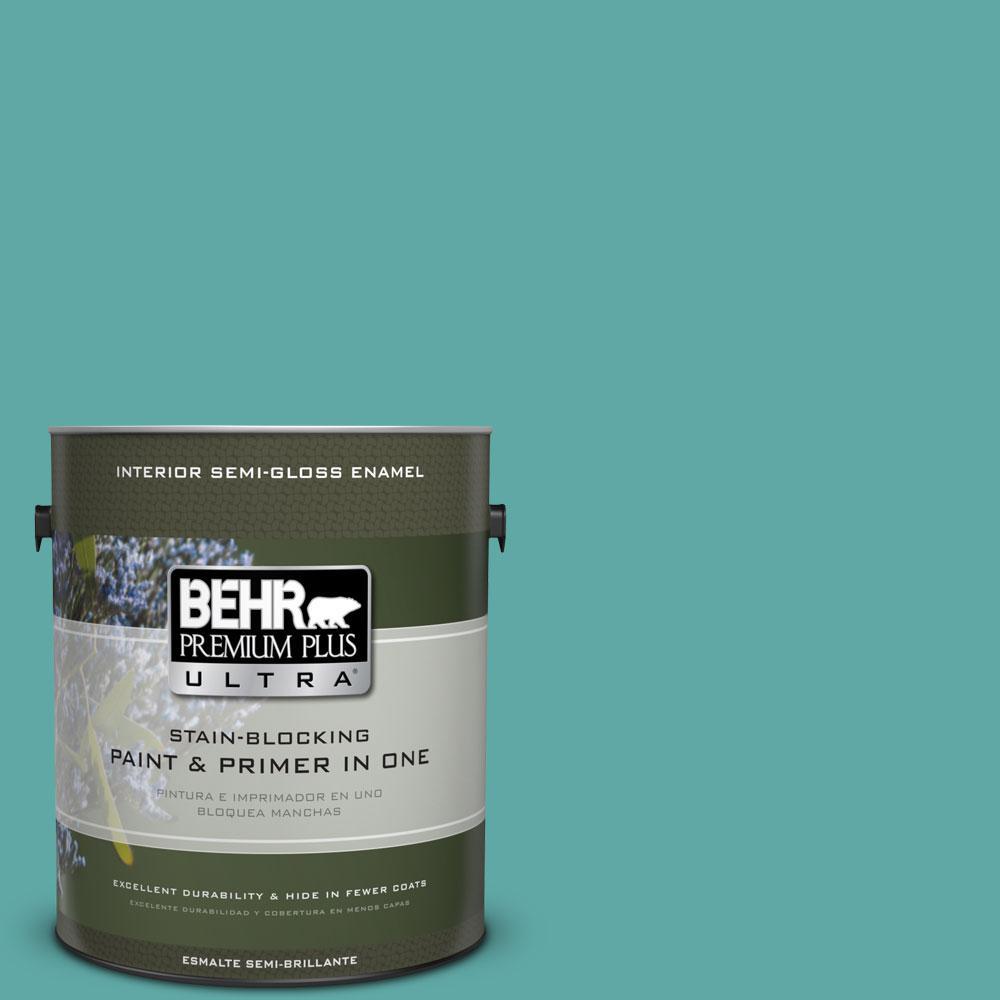 1-gal. #500D-5 Teal Zeal Semi-Gloss Enamel Interior Paint