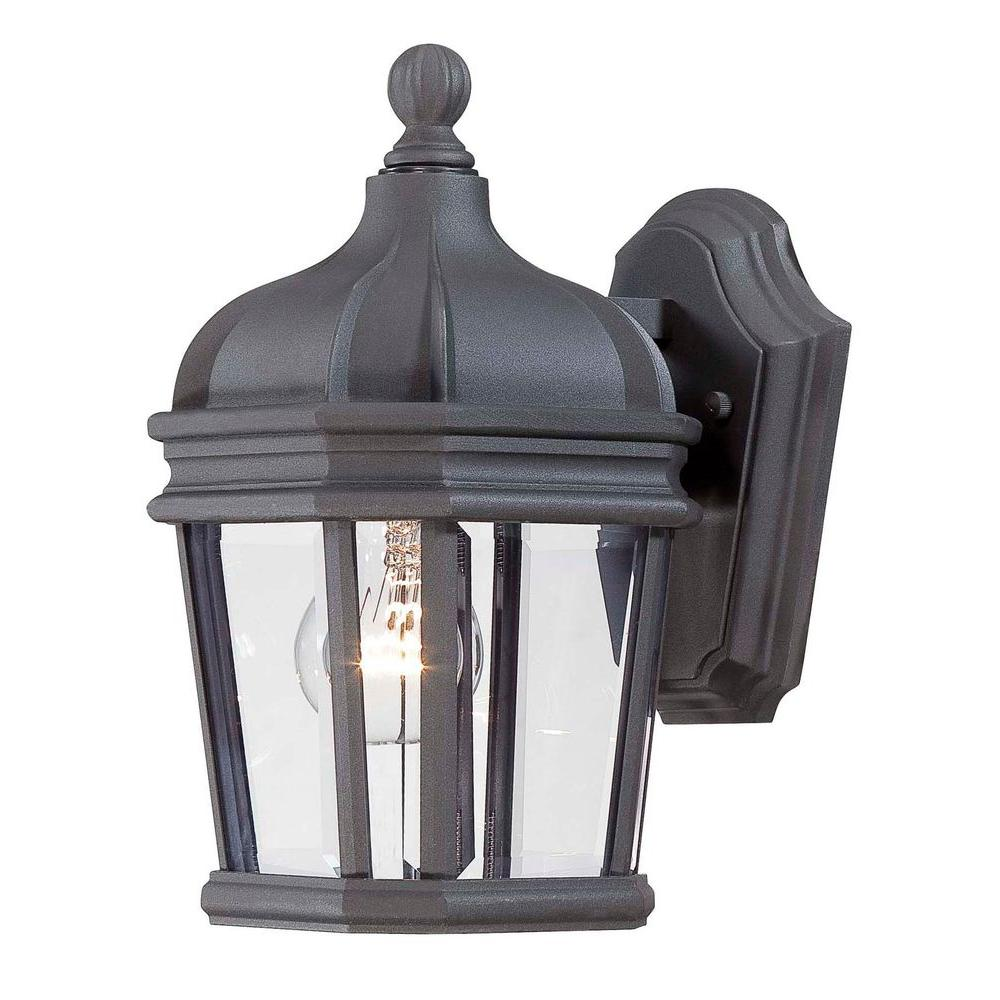 the great outdoors by Minka Lavery Harrison 1-Light Black Outdoor Wall Lantern Sconce