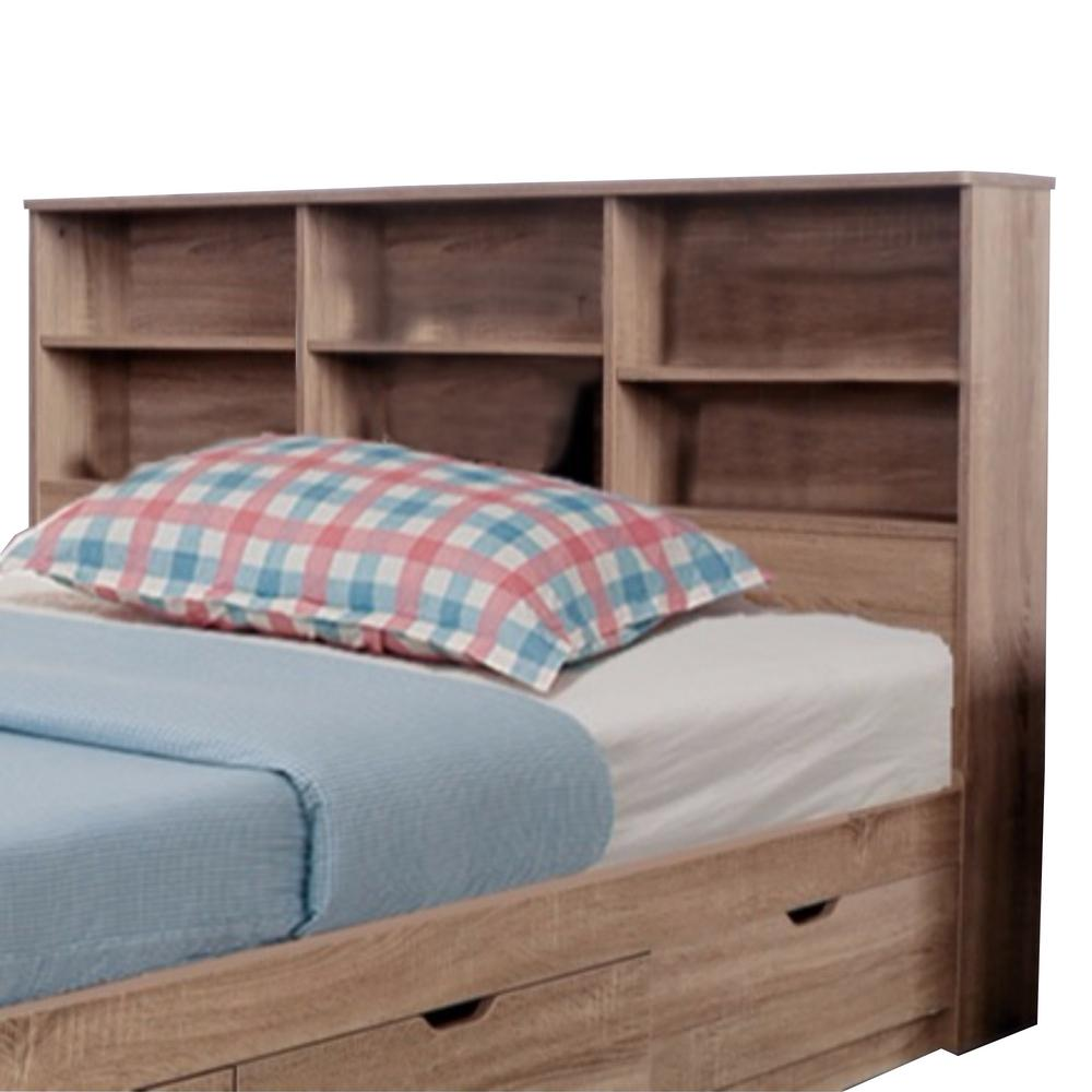 Elegant Brown Full Size Bookcase Headboard With 6 Shelves