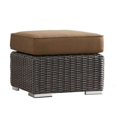 Camari Charcoal Wicker Outdoor Ottoman with Brown Cushion