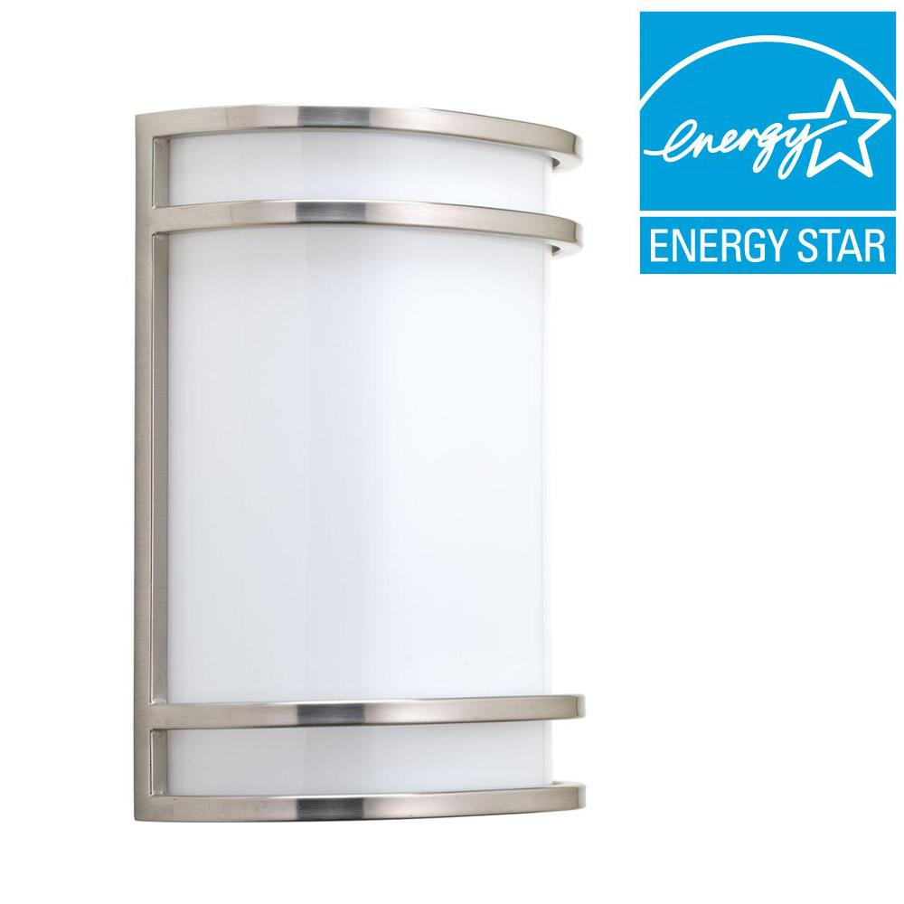 Progress Lighting 1-Light Brushed Nickel Integrated LED Wall Sconce  sc 1 st  Home Depot & Progress Lighting 1-Light Brushed Nickel Integrated LED Wall Sconce ...