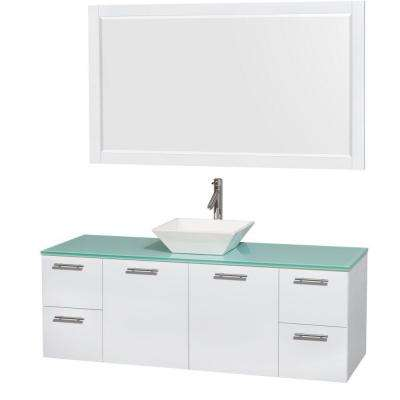 Amare 60 in. Vanity in Glossy White with Glass Vanity Top in Green, Porcelain Sink and 58 in. Mirror