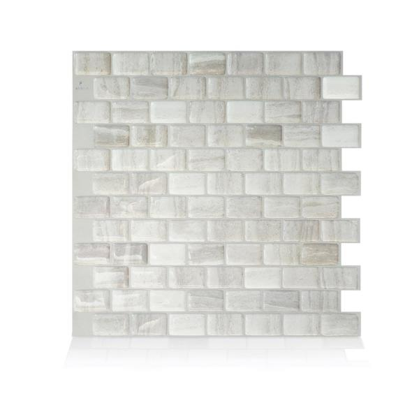 smart tiles-Ravenna Farro 9.80 in. W x 9.74 in. H Peel and Stick Self-Adhesive Decorative Mosaic Wall Tile Backsplash (4-Pack)