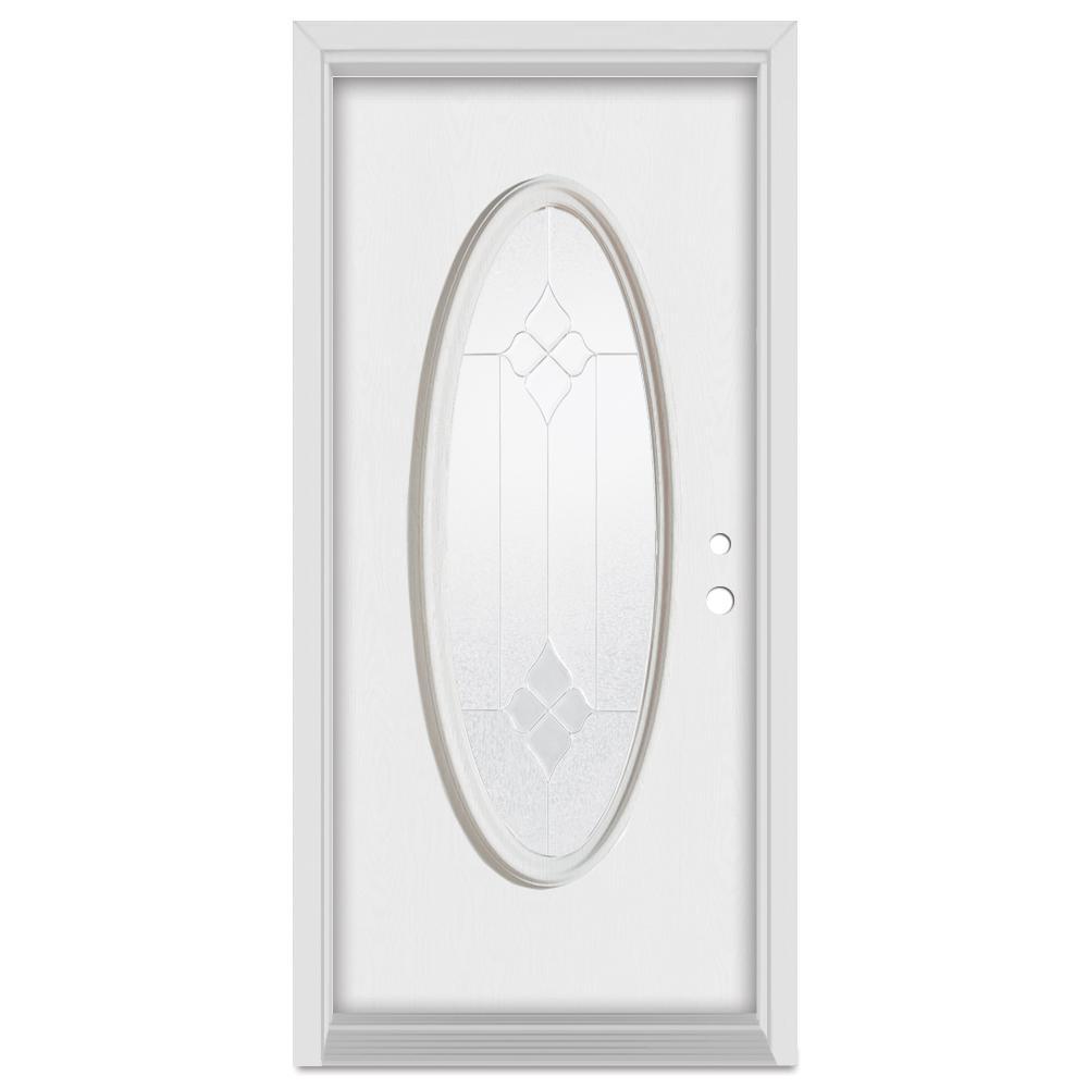 Stanley Doors 36 in. x 80 in. Geometric Left-Hand Zinc Finished Fiberglass Mahogany Woodgrain Prehung Front Door Brickmould