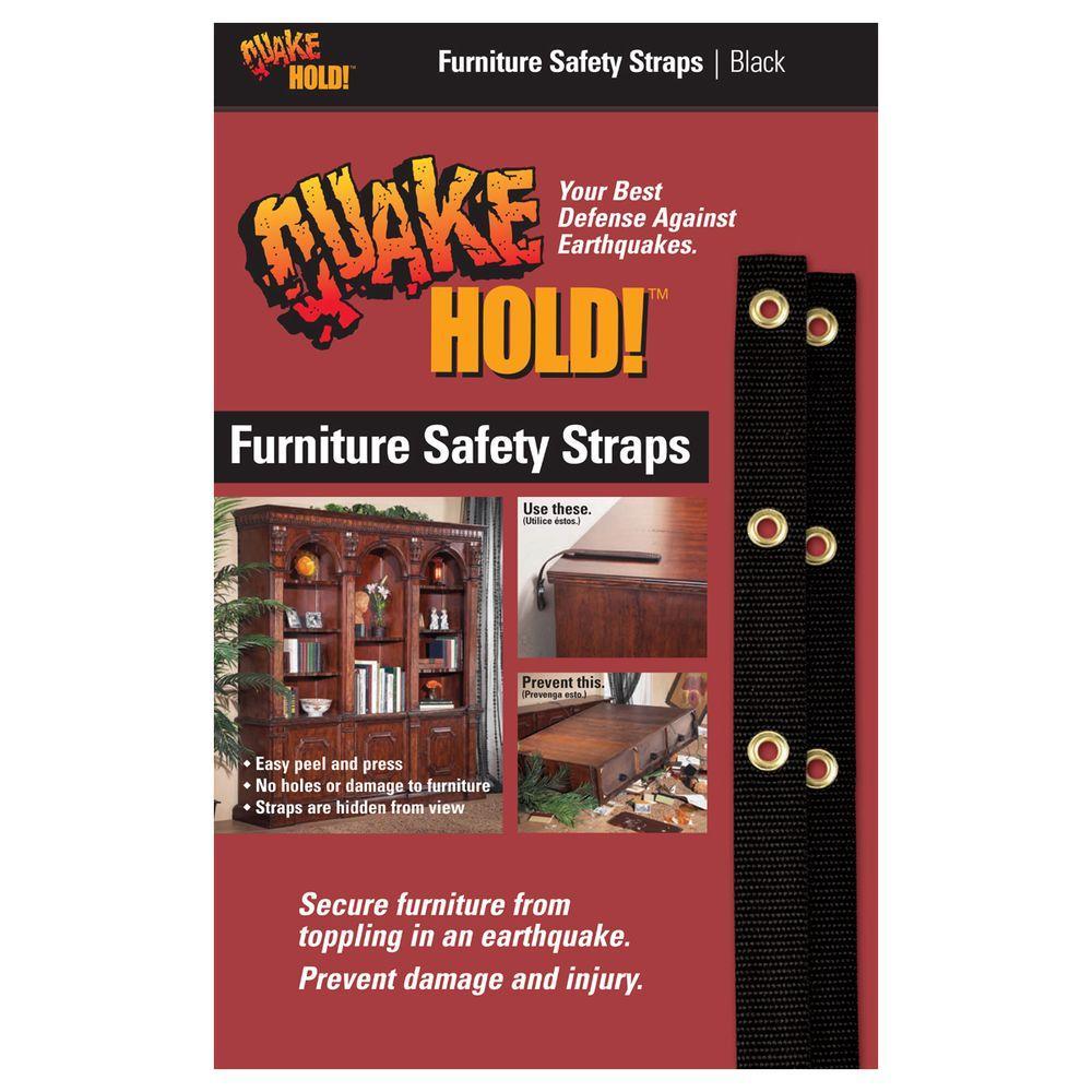quakehold! black nylon furniture safety strap