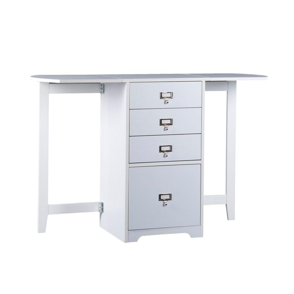 Southern Enterprises White Fold Out Organizer And Craft Desk