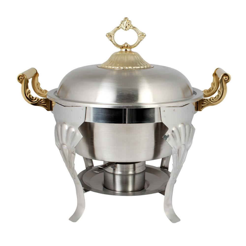 Restaurant Essentials 5 Qt. Half-Size Round/Brass Handle-Set Comes in Set, Silver The Chafer half size 5 Qt. capacity stainless steel round dome cover with brass handles was designed with a royal shape to help entertain in style and elegance. This chafer is ideal for caterers and restaurants, it is a great way to keep food warm, and is an attractive alternative to the average steam table. The set comes complete with a water pan, food pan, and removable lid with handle, chafer rack, fuel holder, and fuel plate. The chafer was constructed out of stainless steel which will ensure a long product lifespan. The chafer was designed with a bright finish, decorative accents, and decorative brass handle covers which helps to bring an elegant look to any event. Color: Silver.