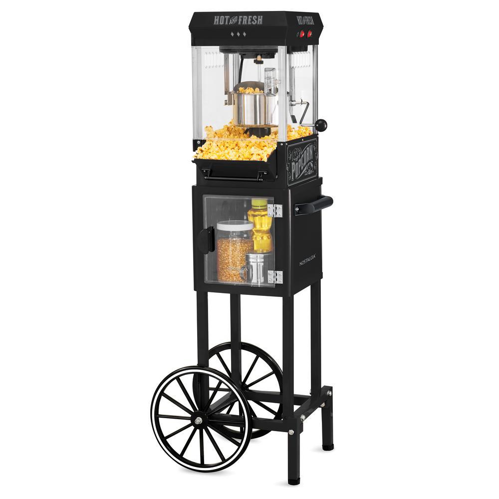 300 W 2.5 oz. Black Popcorn Cart with 5 Qt. Popcorn Bowl