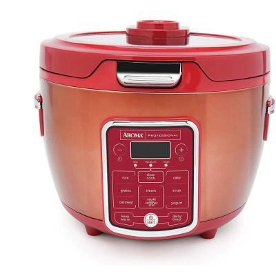 20-Cup Red Rice Cooker with Glass Lid