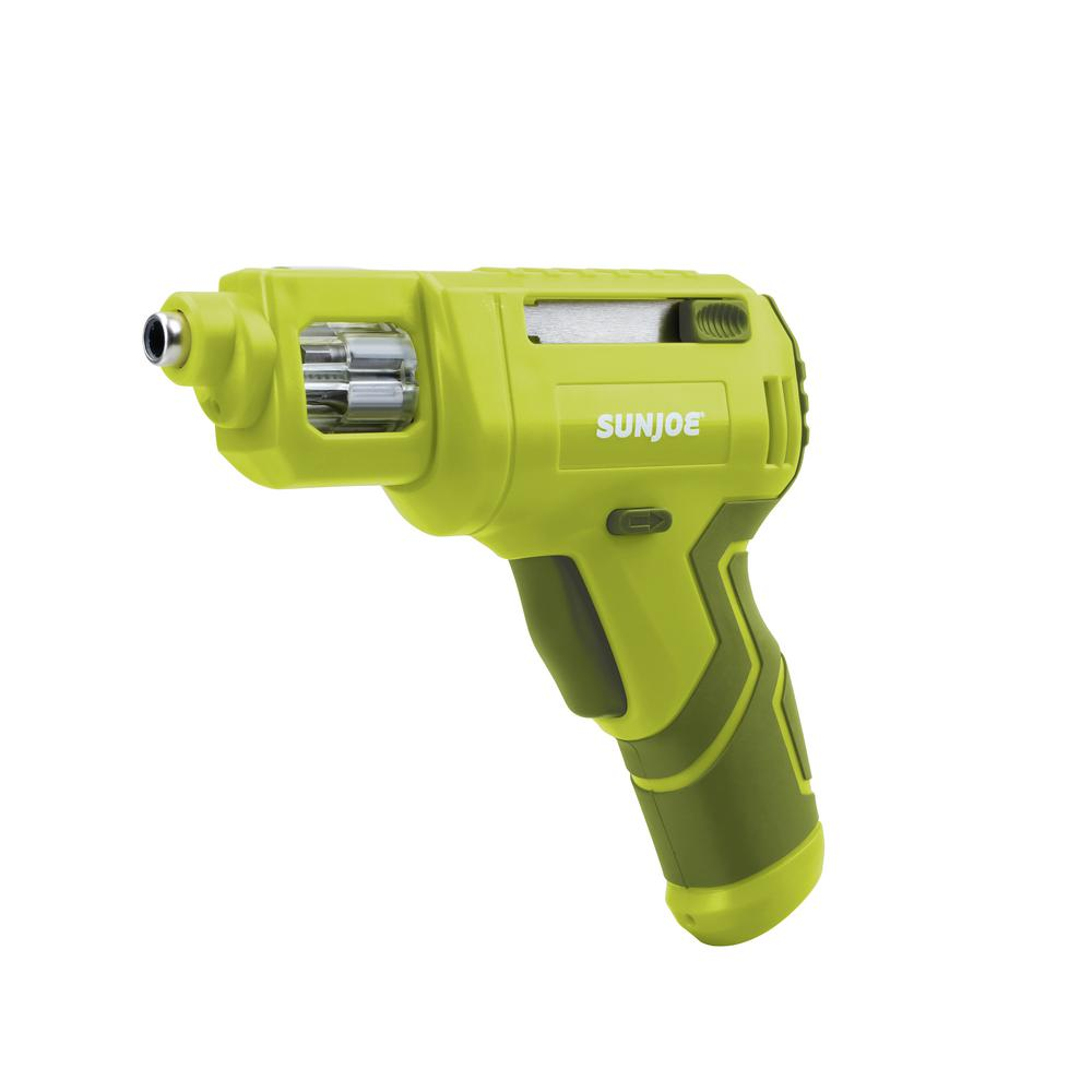 Sun Joe 4-Volt Max Lithium-Ion Cordless Rechargeable Power Screwdriver with Quick Change Bit System