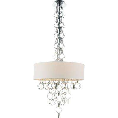 Chained 6-Light Chrome Chandelier with White shade