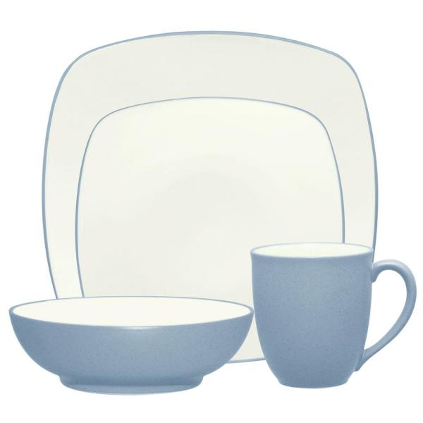 Colorwave Square 4-Piece Casual Ice Stoneware Dinnerware Set (Service for 1)