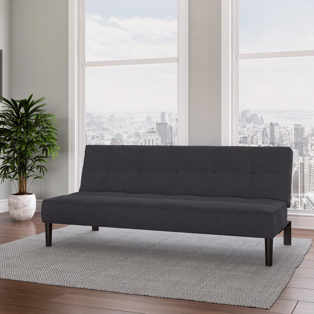 Yorkton Dark Grey Convertible Futon Sofa Bed with Textured Mattress