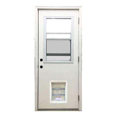 32 in. x 80 in. Classic Clear Vented Half Lite LHOS White Primed Fiberglass Prehung Front Door with XL Pet Door