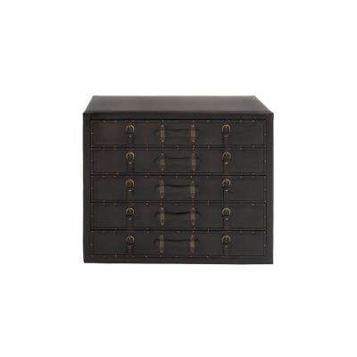 Dark Espresso Antique 5-Drawer Vinyl Cabinet