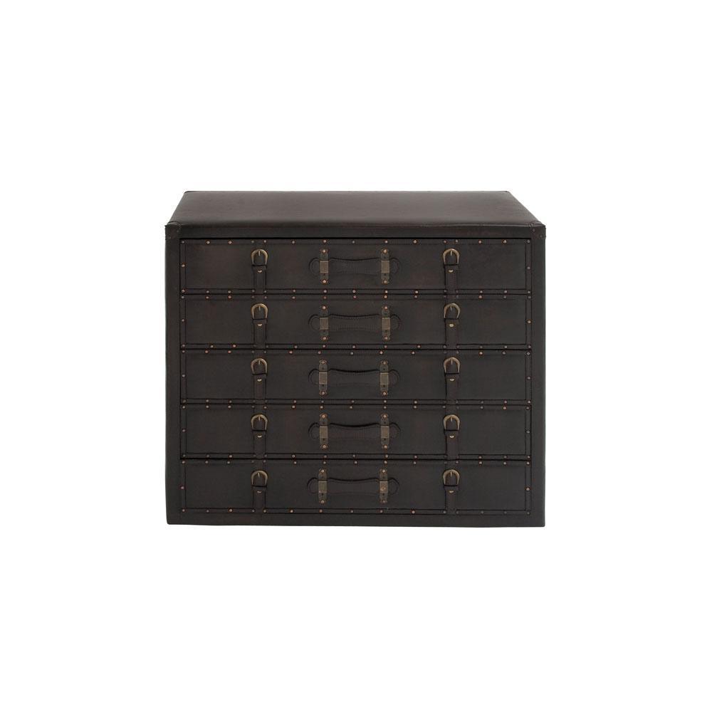 Dark Espresso Antique 5-Drawer Vinyl Cabinet