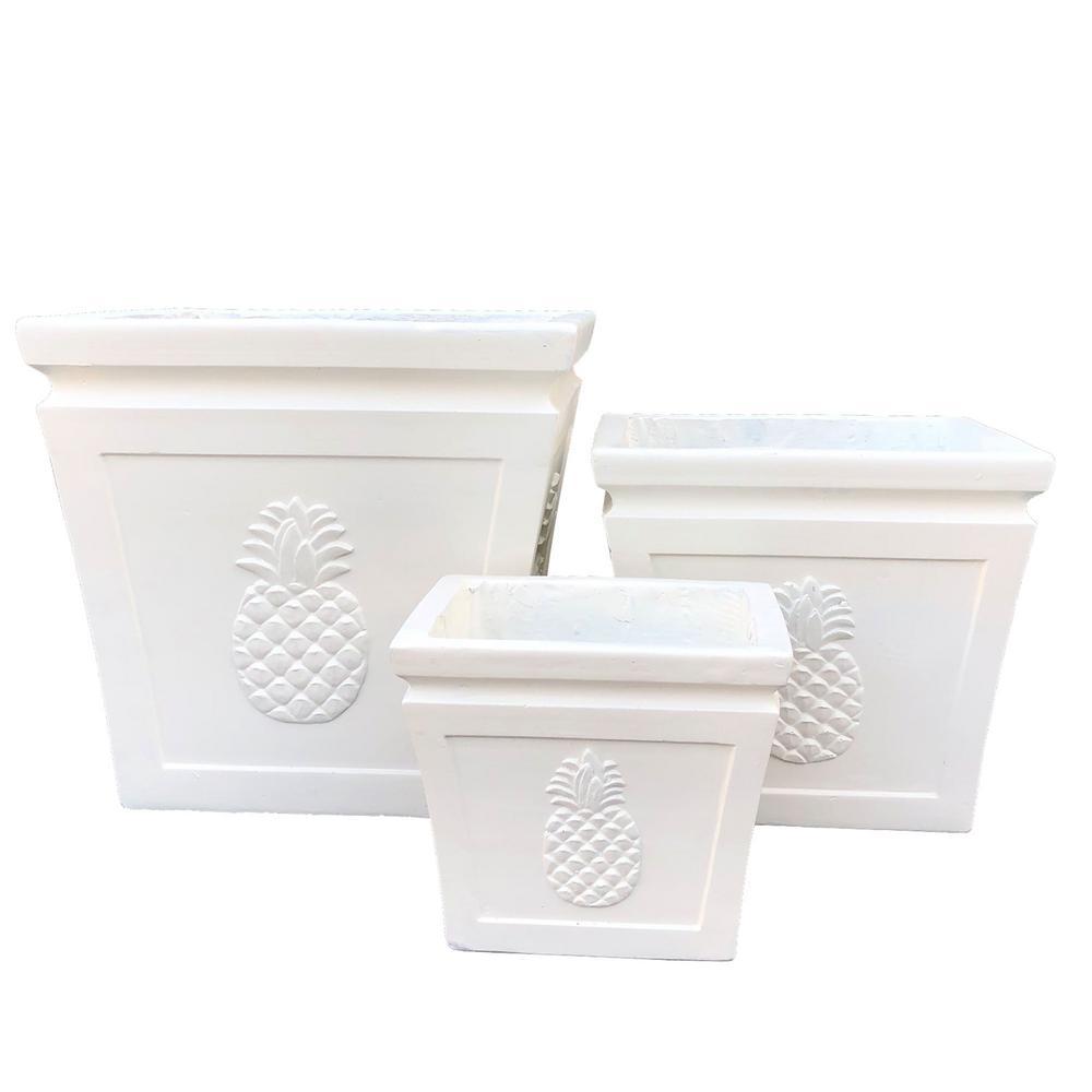 Lightweight Concrete Pineapple Embossed Flared Square Light Cream Planter (Set of 3)