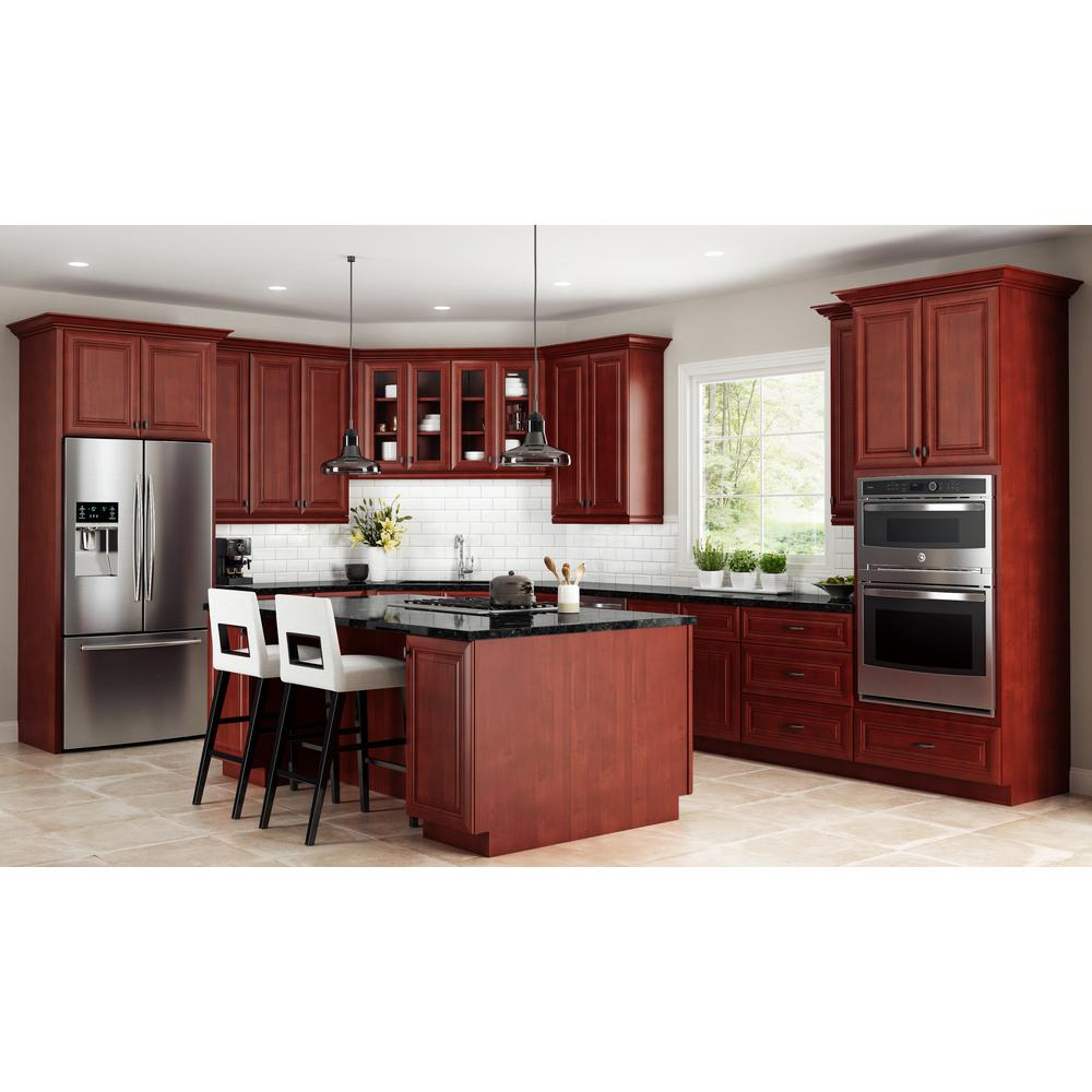 Home Decorators Collection Lyndhurst Assembled 33x34.5x24 in. Double Door  Base Kitchen Cabinet & 2 Drawers in Cabernet