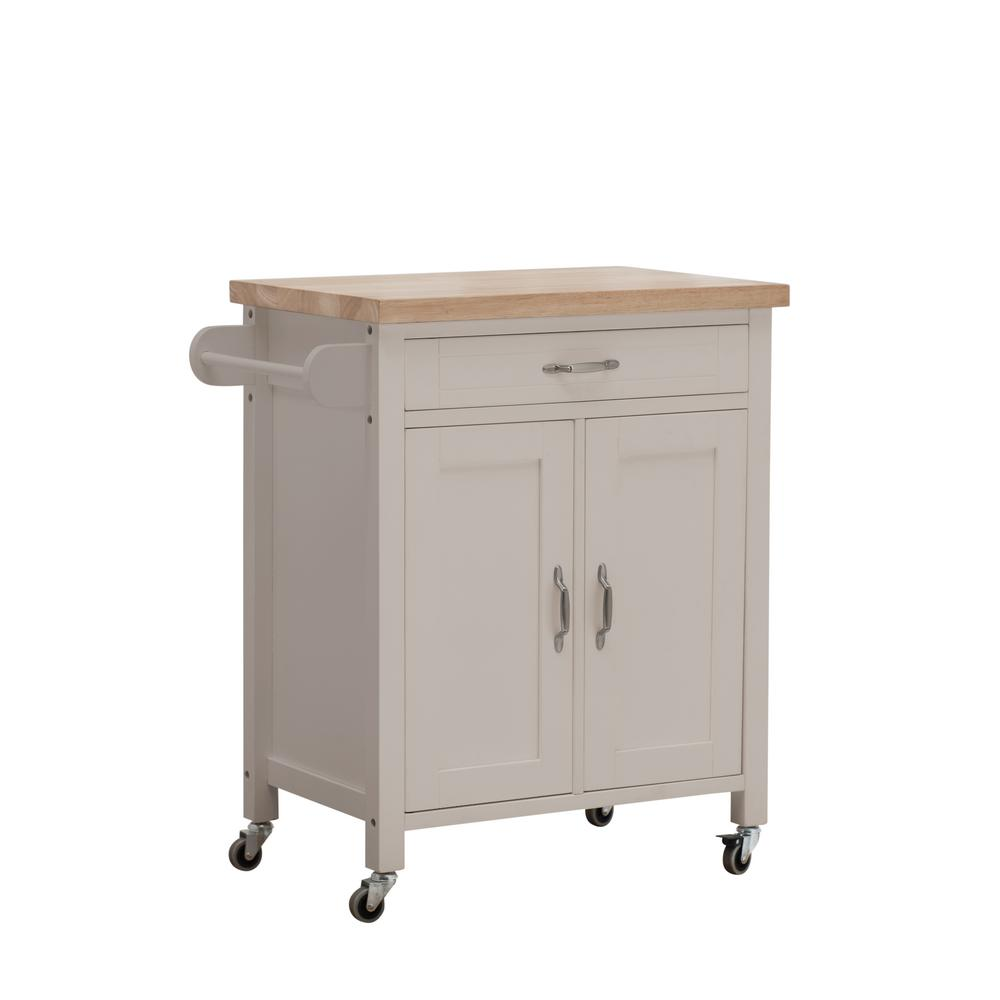 Sunjoy Alberta Gray Body With Wood Top Kitchen Cart With 2 Cabinets And 1  Drawer