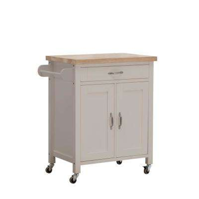 Alberta Gray Body with Wood Top Kitchen Cart with 2 Cabinets and 1 Drawer