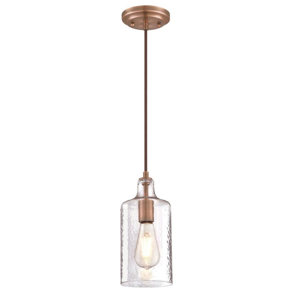 Westinghouse 1 Light Washed Copper Mini Pendant With Clear Textured Glass Shade